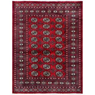 Pakistani Hand-knotted Bokhara Red/ Ivory Wool Rug (4'3 x 5'6)