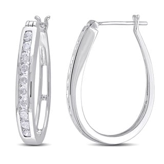 Miadora Signature Collection 10k White Gold 1ct TDW Diamond Hoop Earrings (G-H, I2-I3)