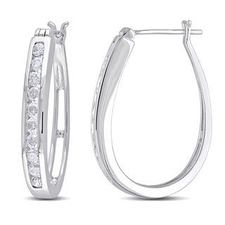 Miadora 10k White Gold 1ct TDW Diamond Hoop Earrings (G-H, I2-I3)