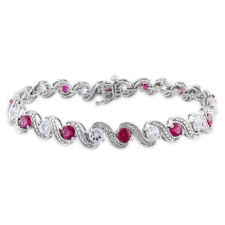 Miadora Sterling Silver Created Ruby and Created White Sapphire Bracelet