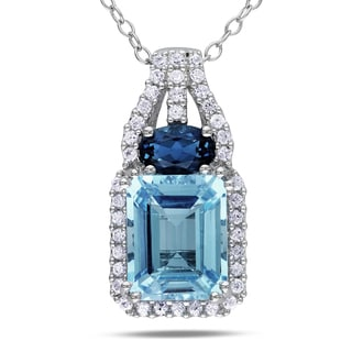 Miadora Sterling Silver Blue Topaz and Created White Sapphire Necklace