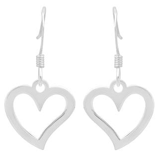 Sterling Essentials Sterling Silver Open Heart Drop Earrings