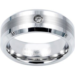 Cambridge 8mm Tungsten Carbide with .04ct TDW Diamond Comfort Fit Wedding Band (I-J, I1-I2)