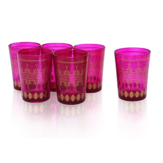 Set of 6 Pink and Gold Moroccan Tea Glasses (India)