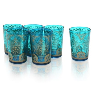 Set of 6 Sea Foam Green Moroccan Tea Glasses (India)