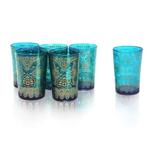 Set of 6 Teal Moroccan Tea Glasses (India)
