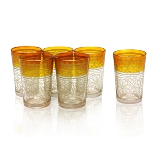 Set of 6 Gold Moroccan Tea Glasses (India)