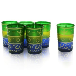 Set of 6 Painted Moroccan Tea Glasses (India)