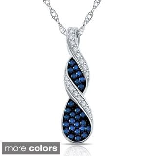 10k White Gold 1/8ct TDW Blue, Black or Brown Diamond Swirl Necklace (H-I, I1-I2)