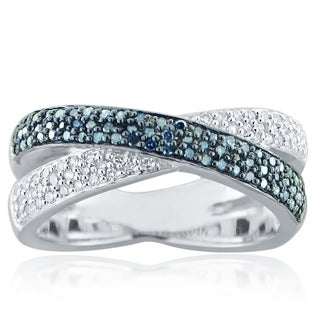 10k White Gold Blue and White Crossover Diamond Ring (H-I, I1-I2)