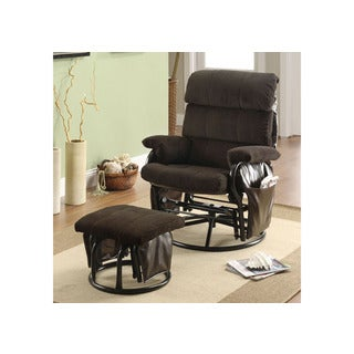 Chocolate Corduroy and Leatherette Swivel Rocker Recliner with Ottoman