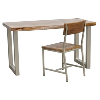 Bauer Acacia Light Walnut Wood and Iron Desk