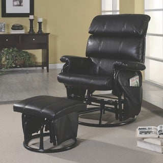 Black Leatherette Swivel Rocker Recliner with Ottoman