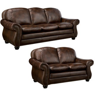 Monterrey Brown Italian Leather Sofa and Leather Loveseat