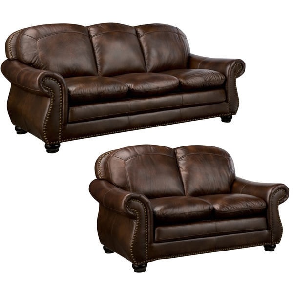 Monterrey Premium Brown Top Grain Leather Sofa and Leather Loveseat