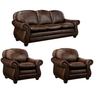 Monterrey Brown Italian Leather Sofa and Two Leather Chairs