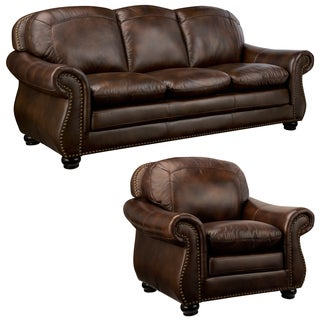 Monterrey Brown Italian Leather Sofa and Leather Chair