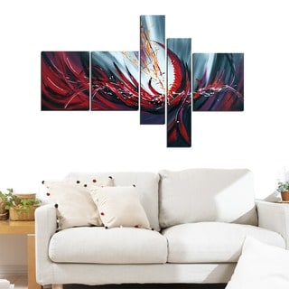 Modern Red Abstract Oil Painting 5-piece Art Set
