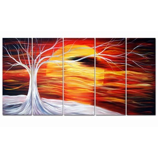 Abstract Tree Painting Hand-painted 5-piece Canvas