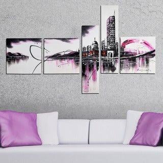 Abstract CityScape Hand-painted 5-piece Canvas