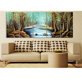 Abstract Forest Painting Hand-painted 5-piece Canvas