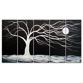 Abstract Black Tree Hand-painted 5-piece Canvas Art