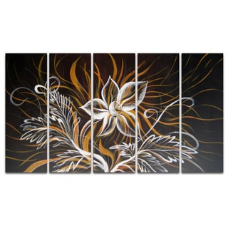 Modern Black Flowers Canvas 5-piece Oil Painting Set