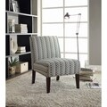 Blue and Beige Leaf Pattern Armless Accent Chair