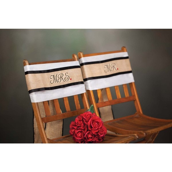 Hortense B. Hewitt Mr. and Mrs. Burlap Chair Sash