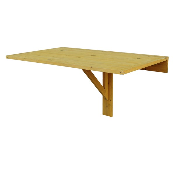 Natural Cypress Wood Wall Mounted Drop Leaf Table