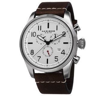 Akribos XXIV Men's Swiss Quartz Chronograph Leather Strap Watch