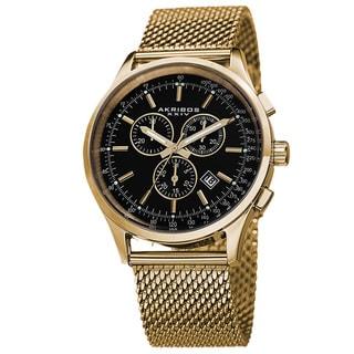 Akribos XXIV Men's Swiss Quartz Chronograph Mesh Stainless Steel Gold-Tone Strap Bracelet