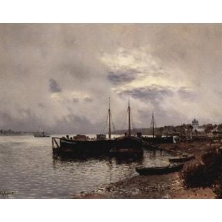 Isaac Levitan 'After the Rain. Volga' Oil on Canvas Art