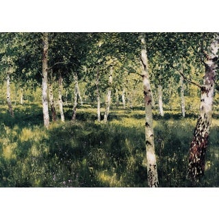 Isaac Levitan 'Birch Grove' Oil on Canvas Art