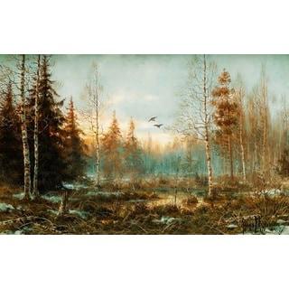 Muraviov Vladimir Leodinovich 'Forest at Dawn' Oil on Canvas Art