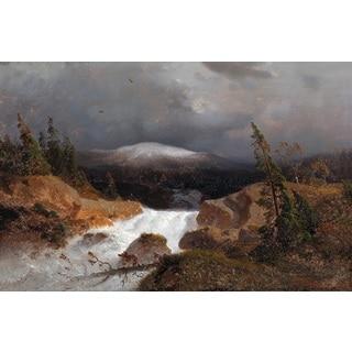 Andreas Achenbach 'Norwegian Mountains' Oil on Canvas Art