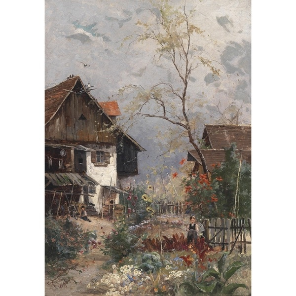 Vitus Staudacher 'A Summers Day In A Blossoming Cottage Garden' Oil on Canvas Art