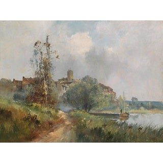 Eugène Galien-Laloue 'Landscape on the River with Anglers' Oil on Canvas Art