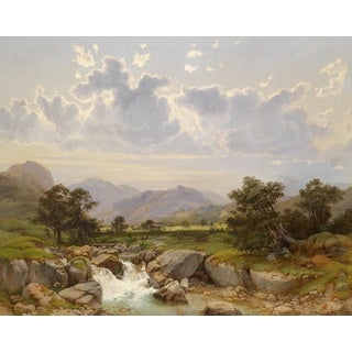 Julius Rose 'Landscape near Abtenau, Salzkammergut' Oil on Canvas Art