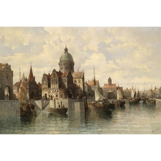 August von Siegen 'View of Amsterdam' Oil on Canvas Art