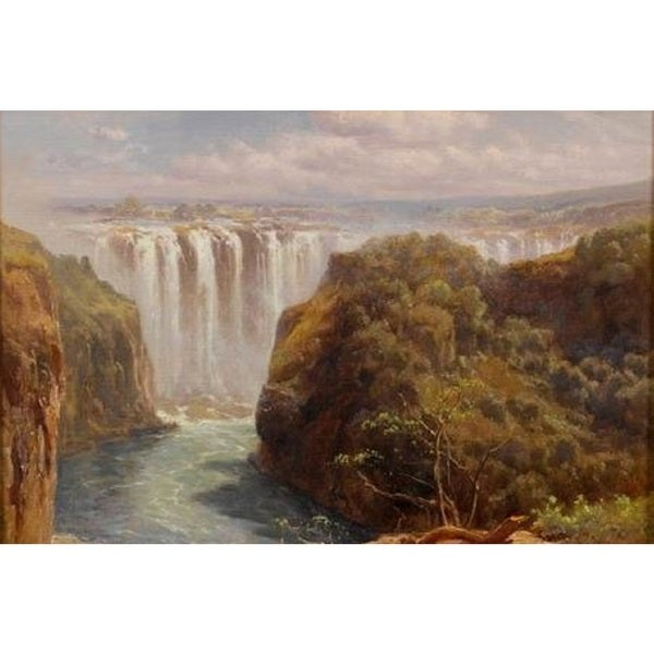 Edward Henry Holder 'The Gorge And Palm Grove, Victoria Falls' Oil on Canvas Art