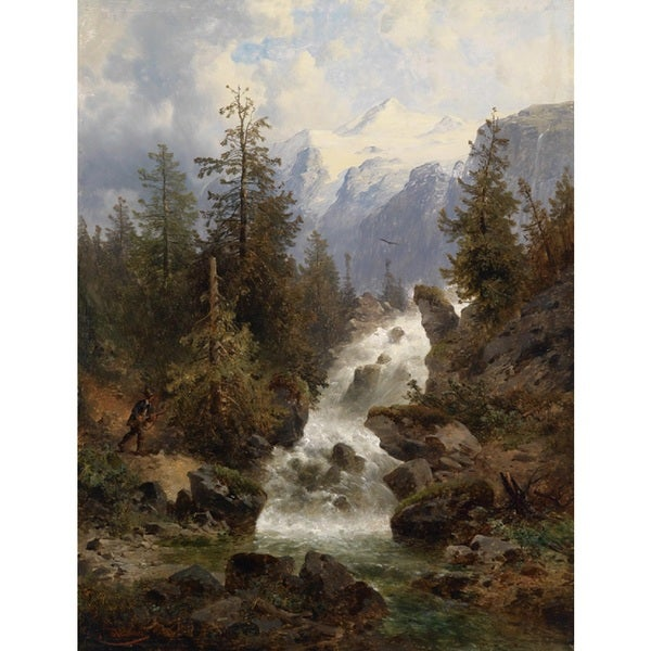 Josef Thoma 'Hunters at the waterfall' Oil on Canvas Art