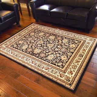TajMahal 106 Black Oriental Design Area Rug (5' x 7')