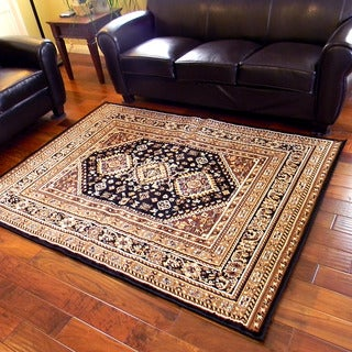 Taj Mahal Black Oriental Border Traditional Area Rug (5' x 7')