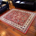 Taj Mahal Red Oriental Bordered Traditional Area Rug (5' x 7')