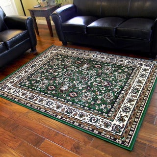 Taj Mahal Hunter Green Oriental Bordered Traditional Area Rug (5' x 7')