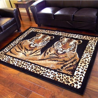 African Adventure Twin Tigers Sitting Area Rug (5' x 7')