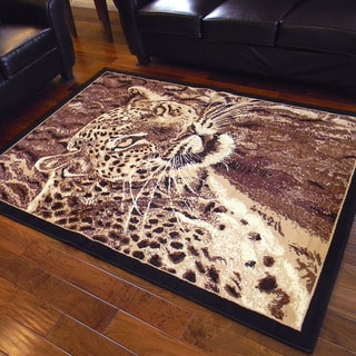 African Adventure Leopard Head Design Area Rug (5' x 7')