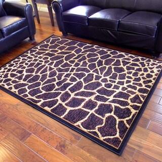 African Adventure Giraffe Skin Design Area Rug (5' x 7')