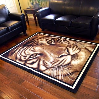 African Adventure Large Tiger Face Design Area Rug (5' x 7')